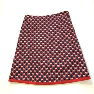 Boden Burnt Orange Print A Line Skirt